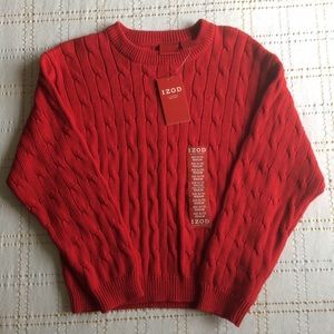 ZOD Luxury Sport Crewneck Cable Red Sweater, 7X